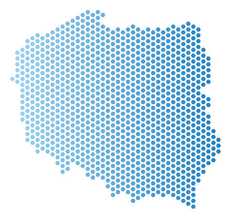 Hex Tile Poland map. Vector geographic scheme in light blue color with horizontal gradient. Abstract Poland map concept is constructed from hexagonal dots.