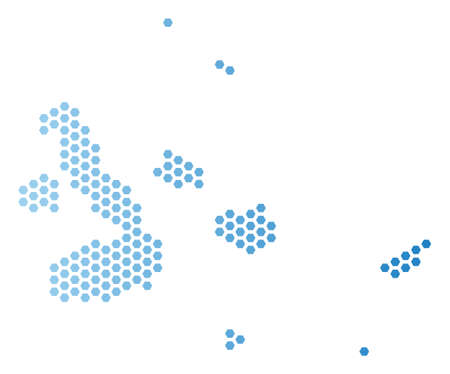 Hex Tile Galapagos Islands map. Vector territory plan in light blue color with horizontal gradient. Abstract Galapagos Islands map concept is containing honeycomb blots.