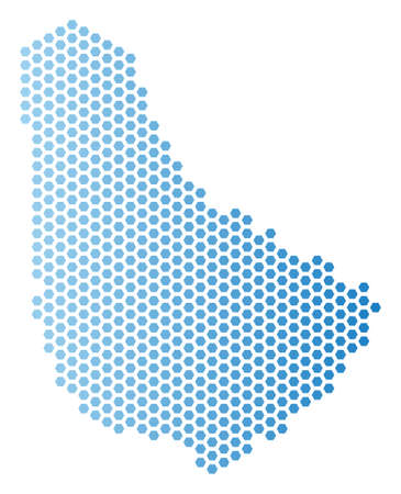 Hexagon Barbados map. Vector territory plan in light blue color with horizontal gradient. Abstract Barbados map mosaic is created from hex tile items. Illustration