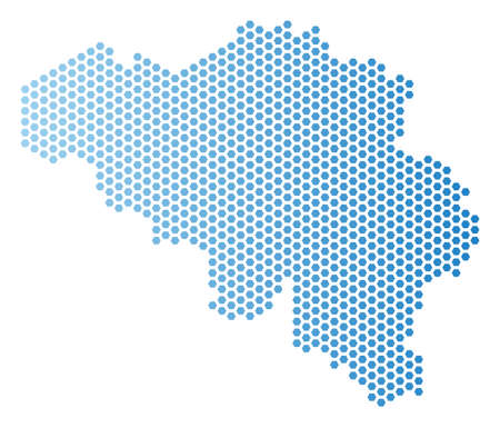 Hexagon Belgium map. Vector territorial scheme in light blue color with horizontal gradient. Abstract Belgium map concept is containing hex-tile spots.