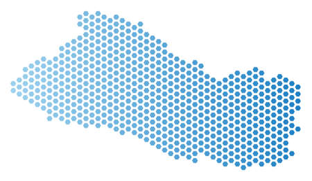 Hex-Tile El Salvador map. Vector territorial scheme in light blue color with horizontal gradient. Abstract El Salvador map concept is containing hex-tile spots. 일러스트