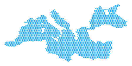 Mediterranean Sea map full of fish. Vector geographic scheme done with fish items. Illustration