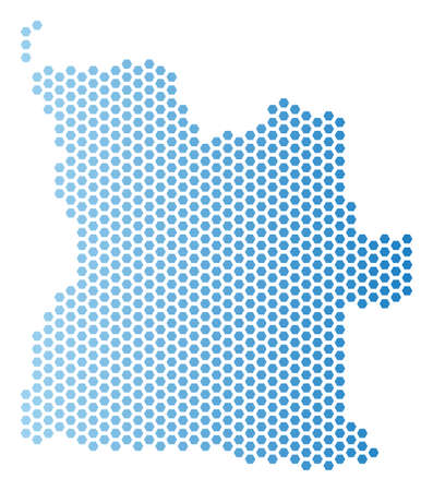 Hex Tile Angola map. Vector territorial scheme in light blue color with horizontal gradient. Abstract Angola map concept is designed with hex-tile spots.