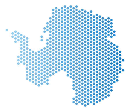 Hexagonal Antarctica map. Vector territory scheme in light blue color with horizontal gradient. Abstract Antarctica map mosaic is made from hex tile pixels.