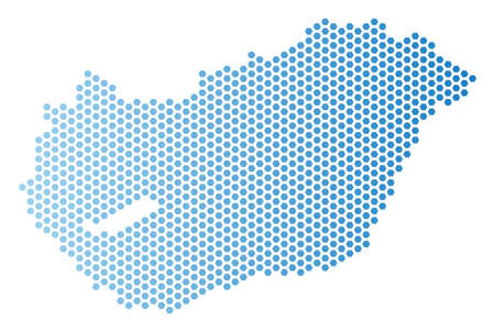 Hexagon Hungary map. Vector territory scheme in light blue color with horizontal gradient. Abstract Hungary map concept is done with hex tile spots. Stock Illustratie