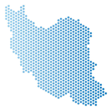 Hexagon Iran map. Vector geographic scheme in light blue color with horizontal gradient. Abstract Iran map composition is containing hex tile blots.