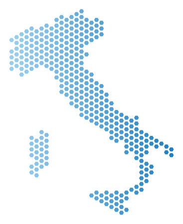 Hexagonal Italy map. Vector territory scheme in light blue color with horizontal gradient. Abstract Italy map composition is created from hex tile spots.