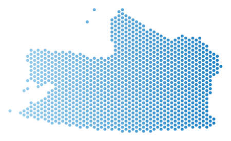 Hex Tile Kaliningrad Region map. Vector territory scheme in light blue color with horizontal gradient. Abstract Kaliningrad Region map composition is designed with hex tile blots.