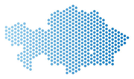 Hexagon Kazakhstan map. Vector territorial plan in light blue color with horizontal gradient. Abstract Kazakhstan map composition is composed from hex-tile spots. Çizim