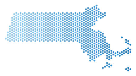 Hexagon Massachusetts State map. Vector geographic plan in light blue color with horizontal gradient. Abstract Massachusetts State map mosaic is combined of hex tile pixels.
