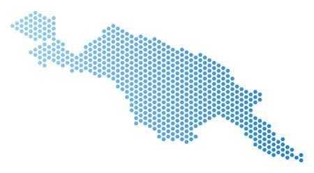 Carte hexagonale de l'île de Nouvelle-Guinée. Schéma territorial de vecteur de couleur bleu clair avec dégradé horizontal. La composition abstraite de la carte de l'île de Nouvelle-Guinée est composée d'éléments de tuiles hexagonales. Vecteurs