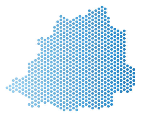 Hex Tile Vatican map. Vector geographic scheme in light blue color with horizontal gradient. Abstract Vatican map concept is combined of hex-tile dots.