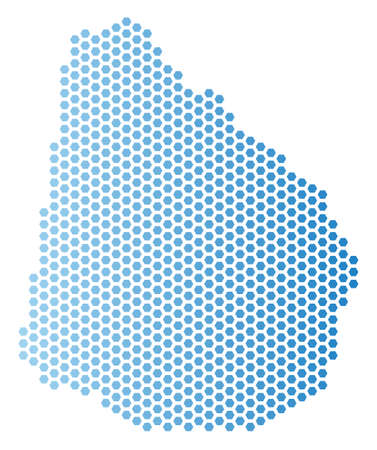 Hexagon Uruguay map. Vector geographic scheme in light blue color with horizontal gradient. Abstract Uruguay map concept is formed from hex tile pixels.