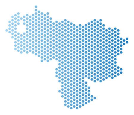 Honeycomb Venezuela map. Vector territorial scheme in light blue color with horizontal gradient. Abstract Venezuela map mosaic is combined of hexagonal elements.  イラスト・ベクター素材