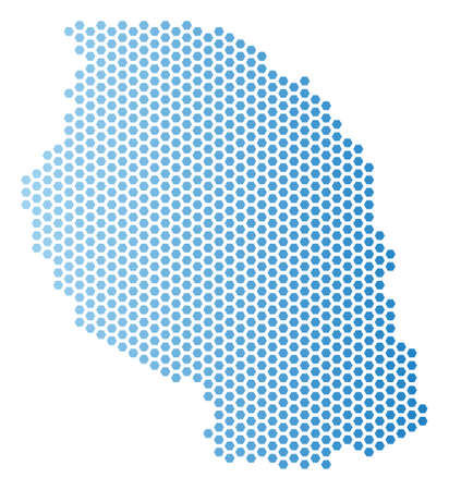 Hexagonal Tanzania map. Vector territory scheme in light blue color with horizontal gradient. Abstract Tanzania map composition is combined of hex tile pixels.