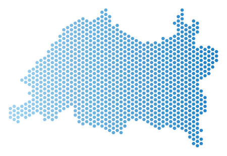 Honeycomb Tatarstan map. Vector geographic scheme in light blue color with horizontal gradient. Abstract Tatarstan map mosaic is combined of hex-tile pixels.