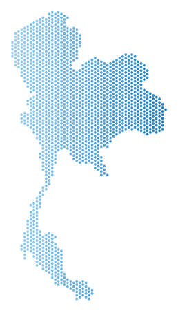 Hexagon Thailand map. Vector territorial scheme in light blue color with horizontal gradient. Abstract Thailand map composition is containing hex-tile spots.