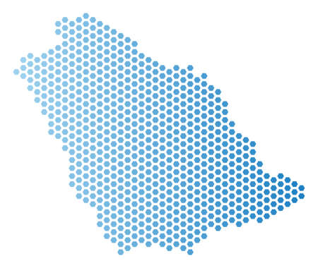 Hex-Tile Saudi Arabia map. Vector territory scheme in light blue color with horizontal gradient. Abstract Saudi Arabia map mosaic is done with hex-tile elements.