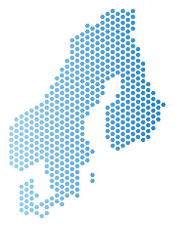 Hex-Tile Scandinavia map. Vector territory scheme in light blue color with horizontal gradient. Abstract Scandinavia map composition is created from hexagonal dots.  イラスト・ベクター素材