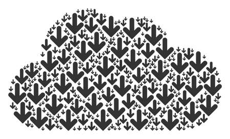 Cloud shape built of arrow down items in various sizes. Abstract vector gas illustration. Arrow down icons are arranged into cloud figure.
