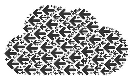 Cloud figure made with arrow left elements in variable sizes. Abstract vector air illustration. Arrow left icons are grouped into cloud shape. Vectores