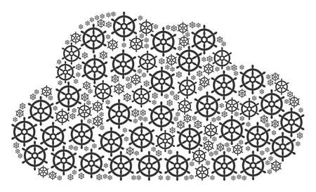 Cloud composition created from boat steering wheel components in various sizes. Abstract vector bubble representaion. Boat steering wheel icons are organized into cloud shape. Çizim