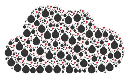 Cloud shape built from bomb icons in various sizes. Abstract vector web representaion. Bomb icons are formed into cloud shape. Vettoriali