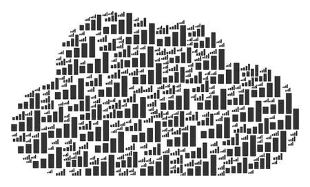 Cloud mosaic made of bar chart components in different sizes. Abstract vector network illustration. Bar chart icons are grouped into cloud shape. Vectores