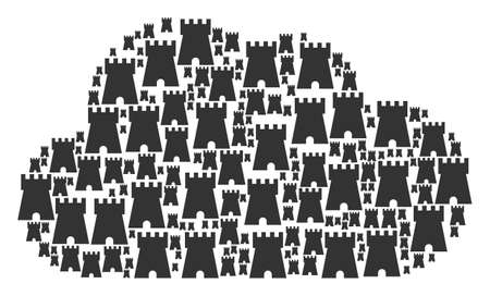 Cloud collage composed of bulwark tower elements in various sizes. Abstract vector fog representaion. Bulwark tower icons are formed into cloud figure. Ilustrace