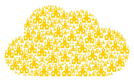 Cloud collage formed with Christian church objects in different sizes. Abstract vector server illustration. Christian church icons are formed into cloud figure.