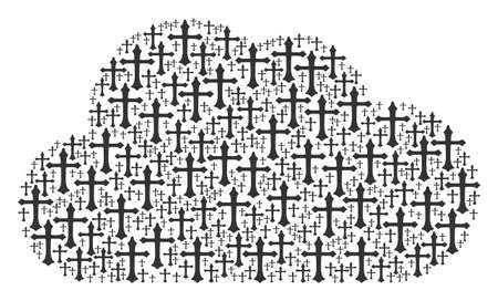 Cloud composition built from Christian cross elements in variable sizes. Abstract vector smoke illustration. Christian cross icons are arranged into cloud figure.