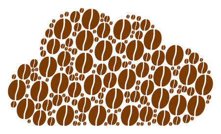 Cloud figure created from coffee bean pictograms in variable sizes. Abstract vector fog concept. Coffee bean icons are grouped into cloud figure.