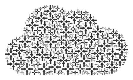 Cloud mosaic created from collide arrows components in various sizes. Abstract vector fog illustration. Collide arrows icons are formed into cloud figure.