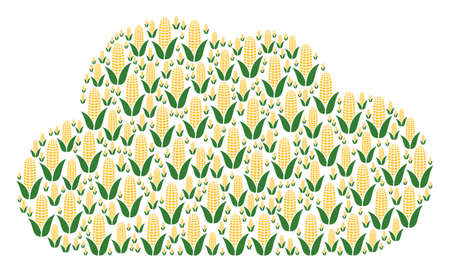 Cloud composition constructed from corn components in variable sizes. Abstract vector fog illustration. Corn icons are organized into cloud shape.
