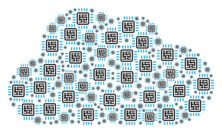 Cloud mosaic made from CPU circuit components in variable sizes. Abstract vector server concept. CPU circuit icons are formed into cloud figure. Illustration