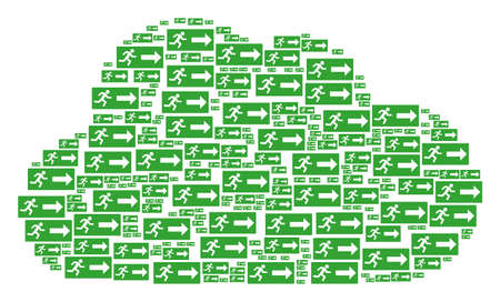 Cloud shape formed of emergency exit items in different sizes. Abstract vector web concept. Emergency exit icons are grouped into cloud figure.