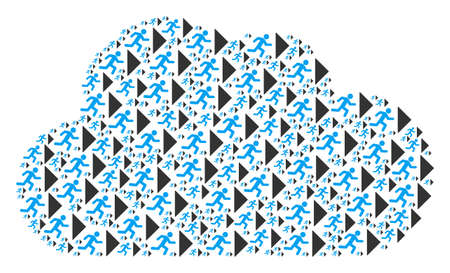 Cloud mosaic made from exit direction items in different sizes. Abstract vector gas concept. Exit direction icons are arranged into cloud shape.