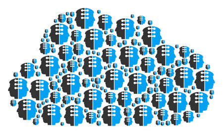 Cloud collage created of dual head interface components in different sizes. Abstract vector store illustration. Dual head interface icons are formed into cloud figure.