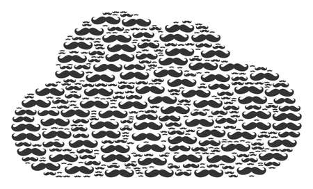 Cloud composition created of gentleman moustache pictograms in variable sizes. Abstract vector bubble concept. Gentleman moustache icons are united into cloud shape.