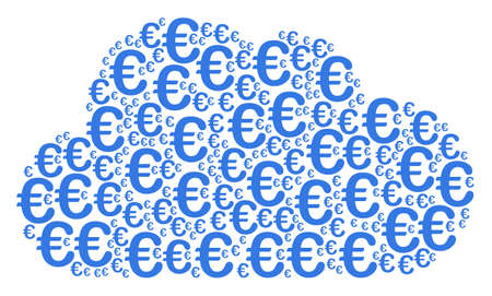 Cloud figure composed with Euro symbol components in various sizes. Abstract vector smoke representaion. Euro symbol icons are united into cloud shape. Illustration