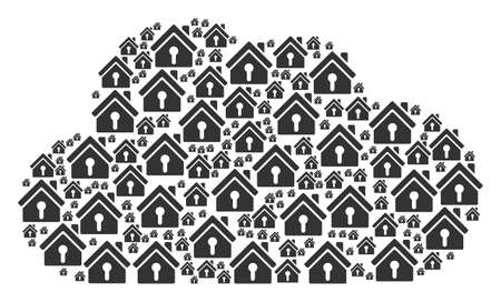 Cloud collage created with home keyhole elements in different sizes. Abstract vector online concept. Home keyhole icons are grouped into cloud figure.