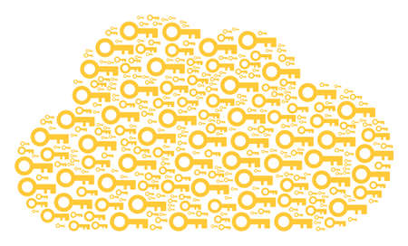 Cloud figure made with key icons in variable sizes. Abstract vector network representaion. Key icons are organized into cloud figure.