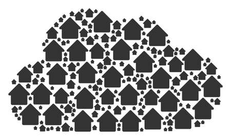 Cloud figure composed with house objects in different sizes. Abstract vector gas illustration. House icons are combined into cloud figure.