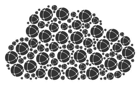 Cloud composition constructed from internet items in variable sizes. Abstract vector bubble illustration. Internet icons are formed into cloud shape.