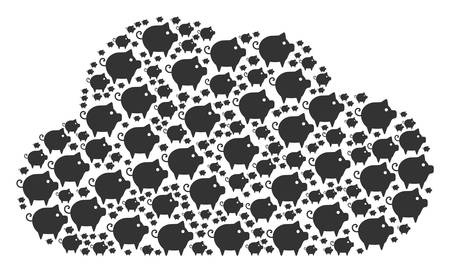 Cloud mosaic formed of piggy icons in variable sizes. Abstract vector server illustration. Piggy icons are combined into cloud figure.