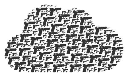 Cloud figure composed of pistol gun icons in variable sizes. Abstract vector store concept. Pistol gun icons are combined into cloud shape. Illustration