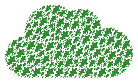 Cloud figure built from oak leaf components in variable sizes. Abstract vector storage illustration. Oak leaf icons are organized into cloud shape.