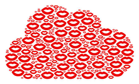 Cloud collage created with sexy lips pictograms in different sizes. Abstract vector server concept. Sexy lips icons are grouped into cloud figure.