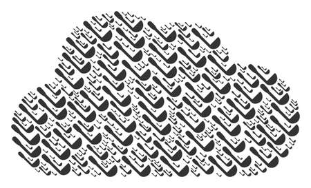 Cloud mosaic created from scoop components in various sizes. Abstract vector online concept. Scoop icons are grouped into cloud figure.