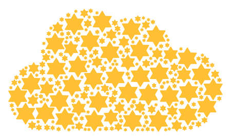 Cloud figure formed of six pointed star objects in different sizes. Abstract vector network representaion. Six pointed star icons are organized into cloud shape. Illustration